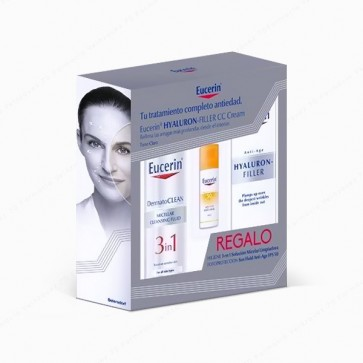 Eucerin® Hyaluron-Filler CC Cream Tono Claro 50 ml + REGALO DermatoCLEAN 3 in 1 + Sun Fluid Anti-Age SPF 50