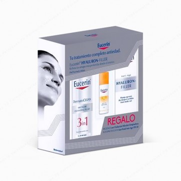 Eucerin® Hyaluron-Filler Crema de Día Piel Normal y Mixta 50 ml + REGALO DermatoCLEAN 3 in 1 + Sun Fluid Anti-Age SPF 50