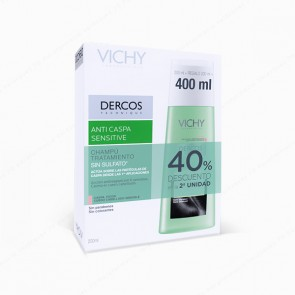 VICHY DERCOS Champú Anticaspa Sensitive Sin Sulfatos - DUPLO 2 x 200 ml