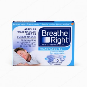 Breathe Right® Transparentes Tiras Grandes - 10 unidades