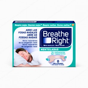 Breathe Right® Mentoladas Tiras Grandes - 8 unidades